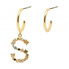 P D Paola AR01-269-U Women's Hoop Earrings Letter S