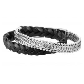 Save Brave SBB-SEAN-BK Men's Bracelet Leather/Stainless Steel Sean