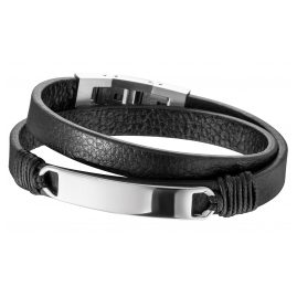 Save Brave SBB-MASON-BK Men's Leather Bracelet Black Mason