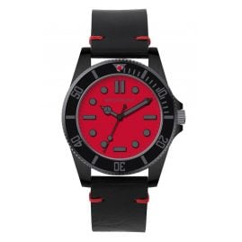 Watchpeople BSG014-02 Brown Sugar Herrenuhr Flat Iron Schwarz/Rot