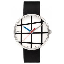 Walter Gropius WG001-01 Armbanduhr Window mit Lederband Schwarz/Weiß