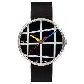 Walter Gropius WG001-03 Armbanduhr Window mit Lederband Schwarz