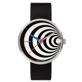 Walter Gropius WG002-02 Watch Excentric with Leather Strap Black/White