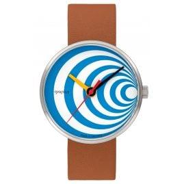Walter Gropius WG002-03 Armbanduhr Excentric mit Lederband Braun/Türkis