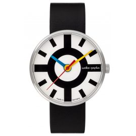 Walter Gropius WG006-03 Design Wristwatch Crossway with Leather Strap Black/White