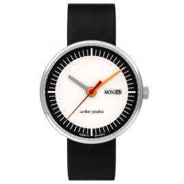 Walter Gropius WG008-01 Unisex-Armbanduhr Classic Date mit Lederband Schwarz/Weiß