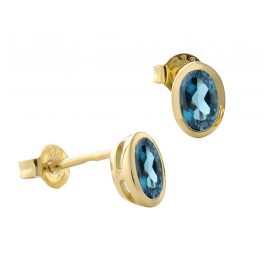 Acalee 70-1014-03 Ohrringe Gold 333 / 8K Ohrstecker Topas London Blau