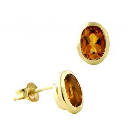 Acalee 70-1017-06 Women's Stud Earrings Gold 333 / 8K with Citrine