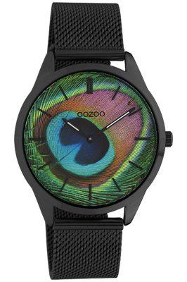 Oozoo C10253 Damenuhr Pfauenauge Schwarz Ø 38 mm