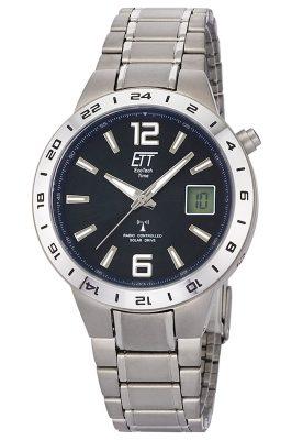ETT Eco Tech Time EGT-11411-41M Funk-Solar Armbanduhr Titan
