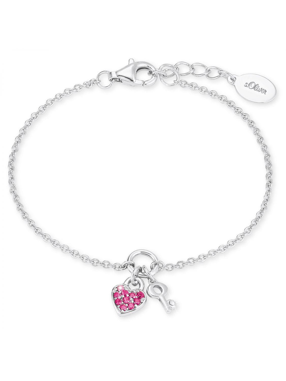 catch lace up in hot sale online s.Oliver 2024213 Silber Mädchen-Armband mit Herz und Schlüssel