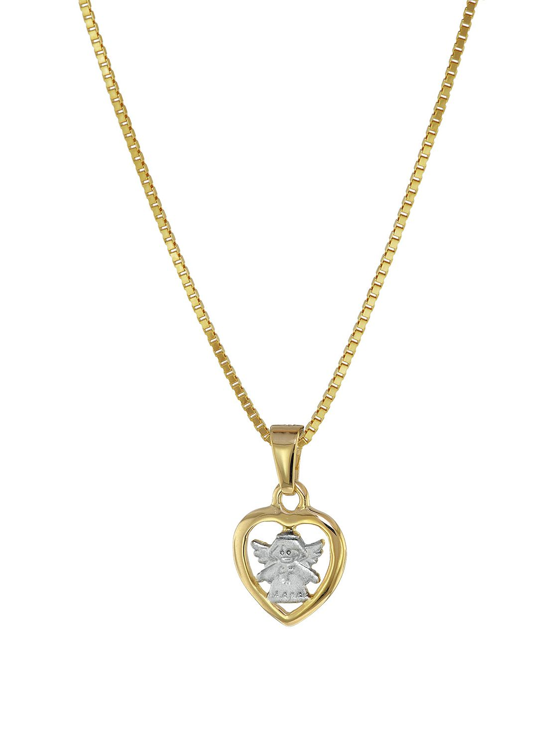666cdf33fc6b4 trendor 08554 Gold 8K Heart-Angel Pendant with Gold Plated Kids Necklace