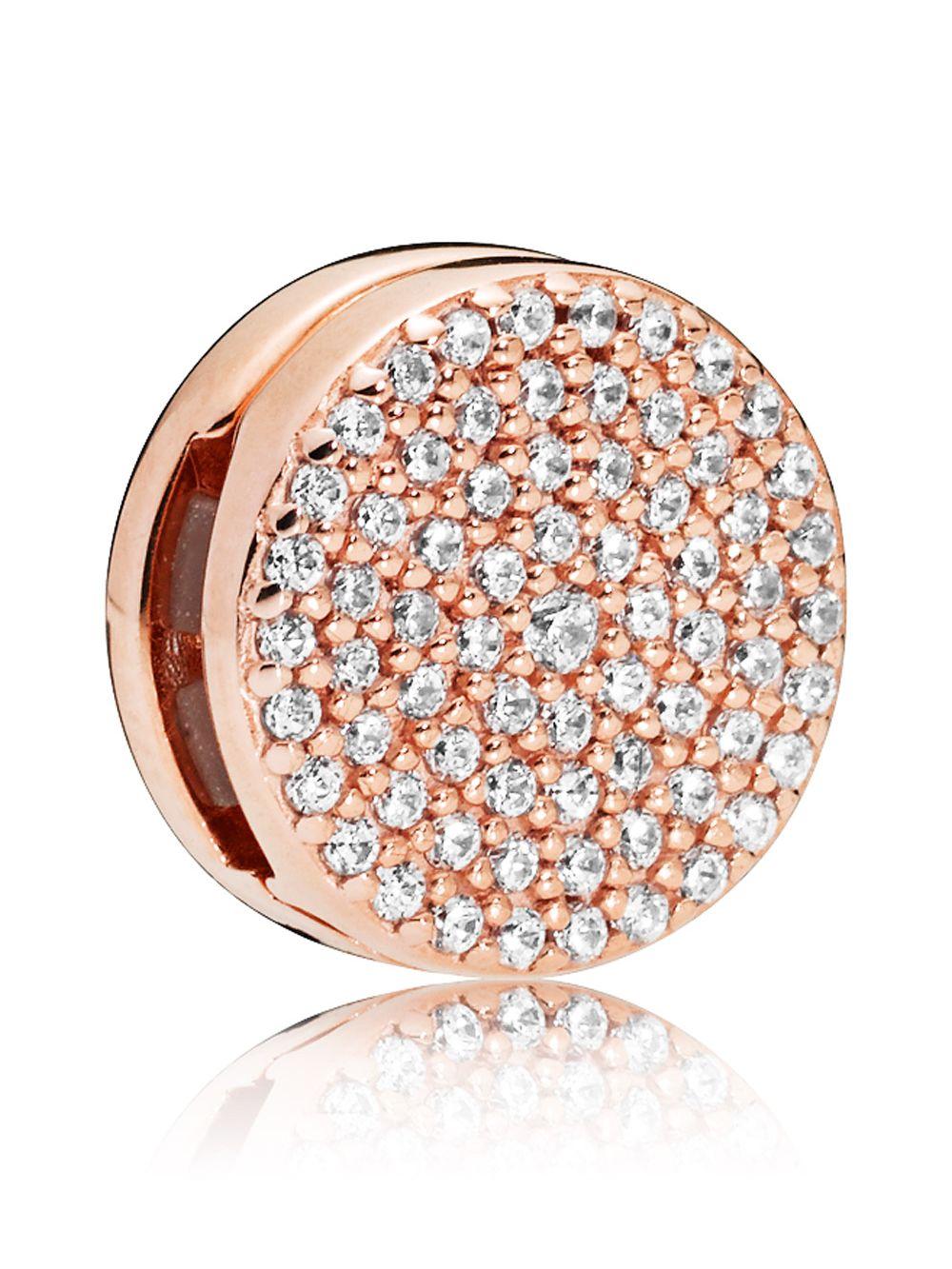 ccf0acd6a8072 Pandora 787583CZ Reflexions Dazzling Elegance Clip Charm Rose