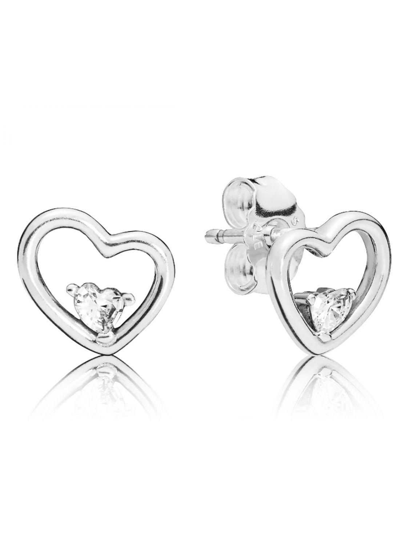 01adb14d37343 Pandora 297813CZ Stud Earrings Asymmetric Hearts of Love