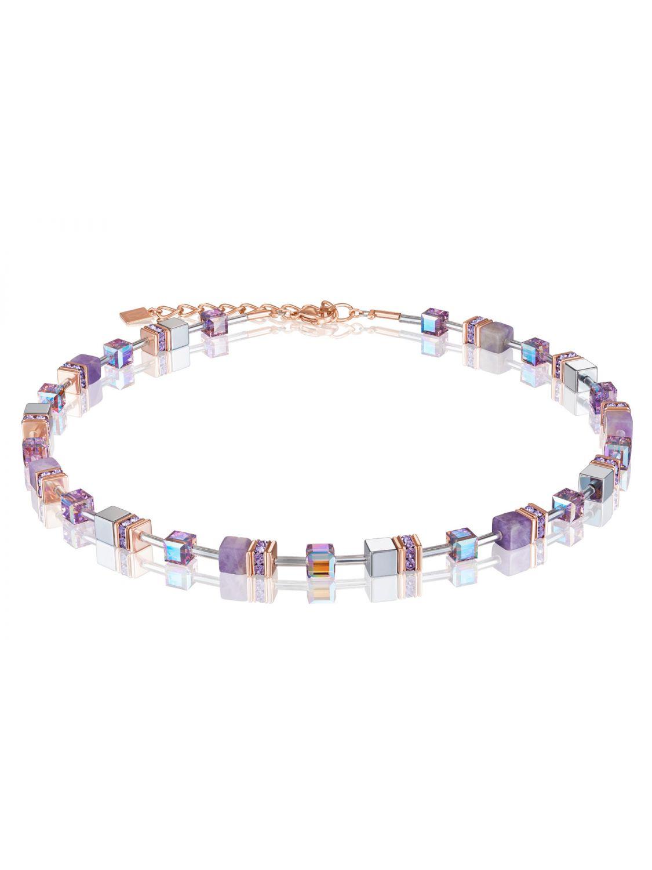 Coeur de Lion 25/25 25 Ladies' Necklace GeoCUBE Amethyst & Haematite  Lilac