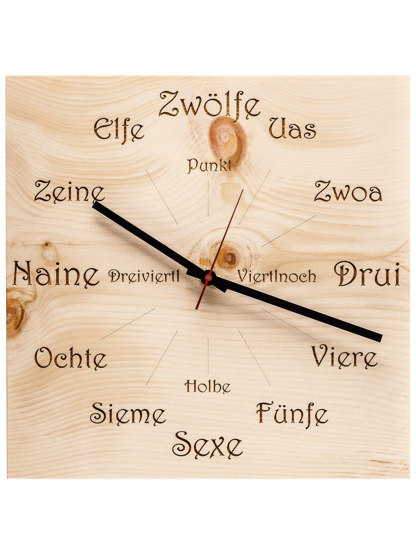 Wanduhr Zirbe U4100 Holz Huamet Dialekt Eckig Yb6f7gy
