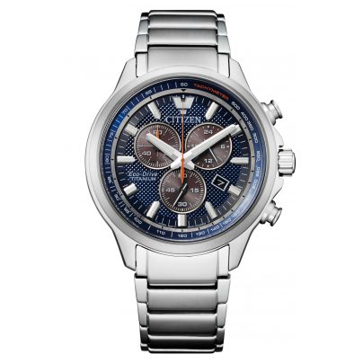 Citizen AT2470-85L Eco-Drive Herrenuhr Chronograph Titan Blau 4974374297167