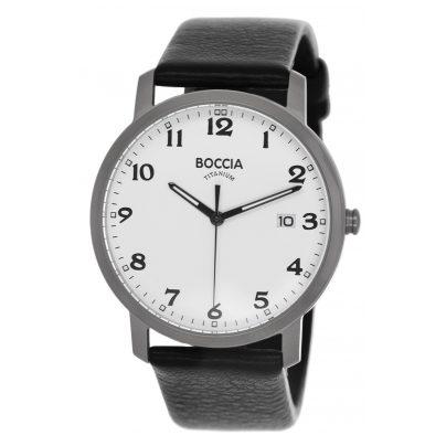Boccia 3618-01 Titan-Herrenuhr mit Lederband 4040066248073