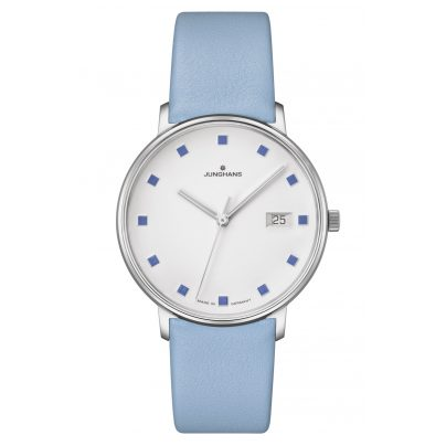 Junghans 047/4055.00 Ladies' Watch Form Damen Blue Leather Strap 4000897392680