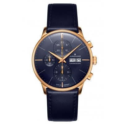 Junghans 027/7024.00 Men's Automatic Watch Meister Chronoscope blue / rose gold 4000897393052
