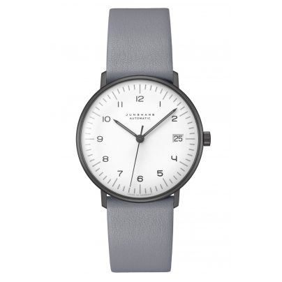 Junghans 027/4006.04 max bill Wristwatch Small Automatic Grey Leather Strap 4000897392840