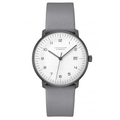 Junghans 027/4007.04 max bill Automatic Watch with Grey Leather Strap 4000897392857