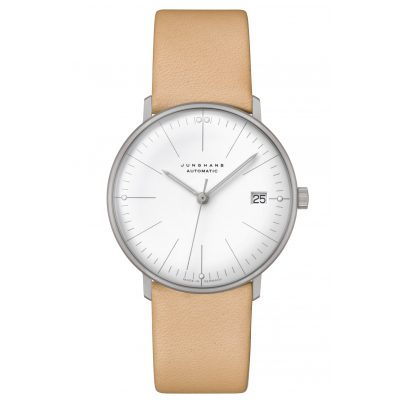 Junghans 027/4004.04 max bill Ladies Watch Small Automatic Beige Leather Strap 4000897392826