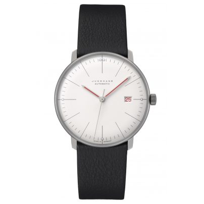 Junghans 027/4009.02 max bill Automatic Watch Bauhaus Black Leather Strap 4000897392871