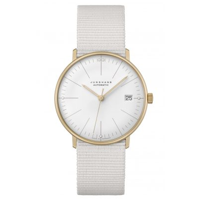 Junghans 027/7006.04 max bill Watch Small Automatic Nato Strap Light Grey 4000897393038