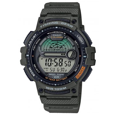 Casio WS-1200H-3AVEF Herren-Digitaluhr für Angler und Fischer Grün 4549526252129