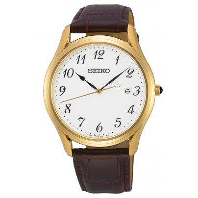 Seiko SUR306P1 Armbanduhr für Herren mit Saphirglas und Lederband 4954628233356