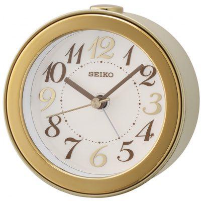 Seiko QHE172G Round Alarm Clock No Ticking silver / gold 4517228834622