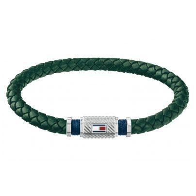 Tommy Hilfiger 2790084 Herren Leder-Armband Casual Grün 7613272327244