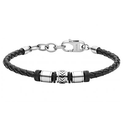 Fossil JF03385040 Herren-Armband Cuff Edelstahl Leder Schwarz 4053858707207