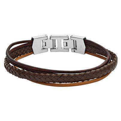 Fossil JF03390040 Herren Leder-Armband Braun Multi-Strand 4053858703506