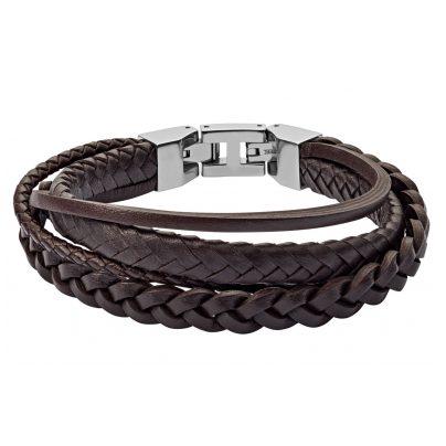 Fossil JF03190040 Herren Leder-Armband Braun Multi-Strand 4013496532159