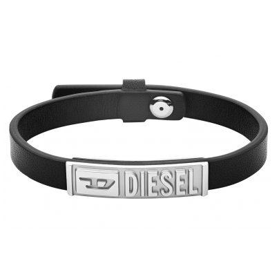 Diesel DX1226040 Herren-Armband Edelstahl Leder Schwarz 4053858341456
