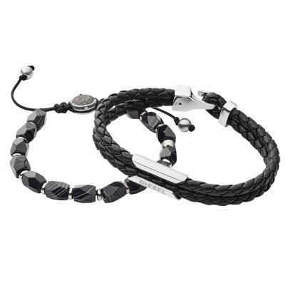 Diesel DX1254040 Set of 2 Men's Bracelets Black 4048803101865