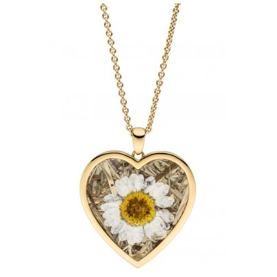 Viventy 783242 Ladies' Necklace Heart with Marguerite / Cornflower Gold Plated 4028543220736