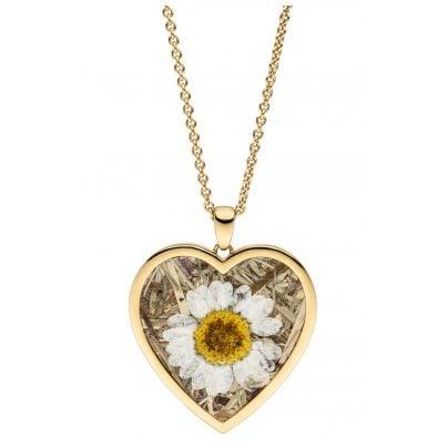 Viventy 783242 Damen-Halskette Herz mit Marguerite/Kornblume Silber vergoldet 4028543220736