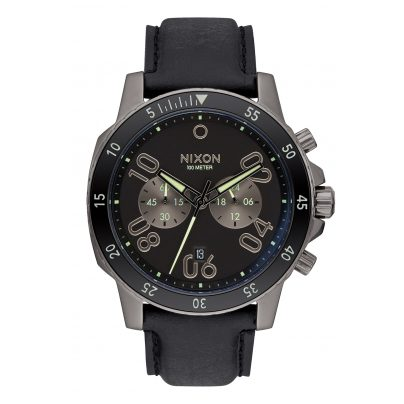 Nixon A940 2305 Ranger Chrono Leather Gunmetal Herrenuhr 3608700747576