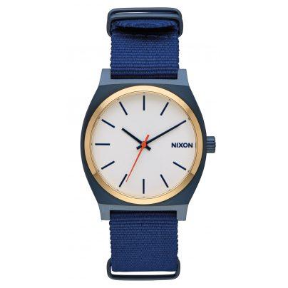Nixon A045 2452 Time Teller Armbanduhr Blau/Gold/Weiß 3608700818344