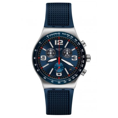 Swatch YVS454 Men's Watch Chronograph Blue Grid 7610522800694