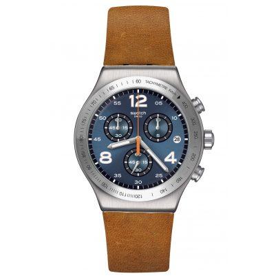 Swatch YVS470 Irony Herrenuhr Chronograph Cognac Wrist braun / blau 7610522822726