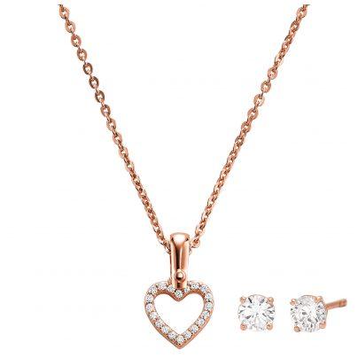 Michael Kors MKC1130AN791 Schmuckset Halskette und Ohrringe Herz 4013496212938