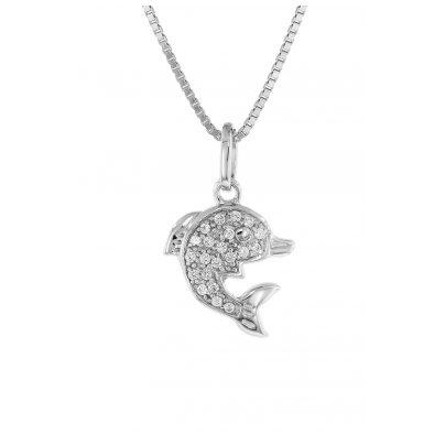 trendor 48801 Silber Halskette mit Delfin-Anhänger 4260143748801