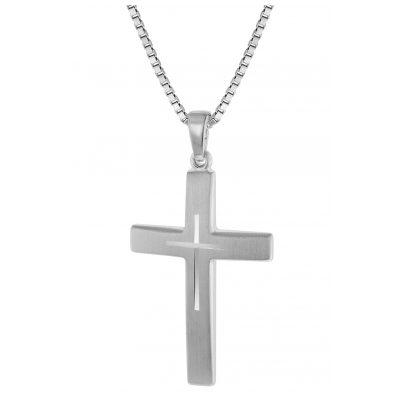 trendor 60705 Silber Kreuz mit Kette für Herren 50 cm 4260227760705