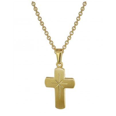 trendor 48610 Kreuz für Kinder Gold 333 mit goldplattierter Silberkette 4260143748610