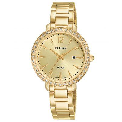 Pulsar PH7516X1 Damenuhr Quarz Goldfarben mit Kristallen 4894138040658