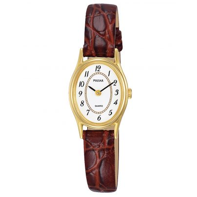Pulsar PPGD78X1 Damen-Armbanduhr mit Lederband Braun 4894138035333